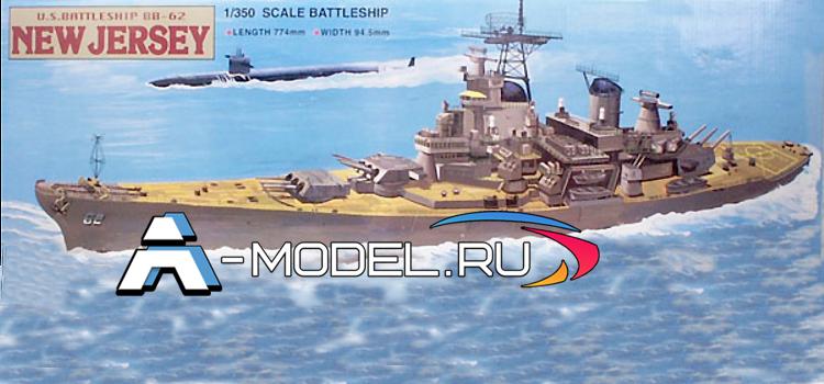 80603 New Jersey battleship US BB-62 - купить сборные модели кораблей и подводных лодок из пластика Mini Hobby Models
