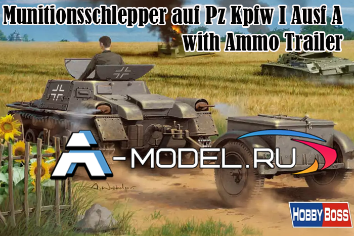80146 Munitionsschlepper auf Panzerkampfwagen I Ausf A with Ammo Trailer 1/35 Hobby Boss сборные модели танков и техники из пластика