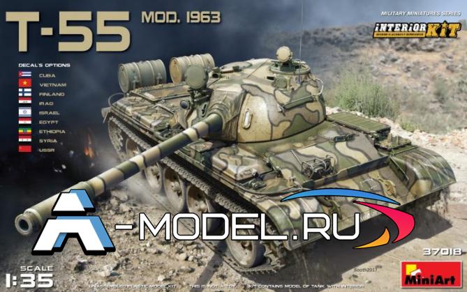 модели Mini Art Т-55 с интерьером 1963г сборная модель танка 1/35 MINI ART 37018 , цена