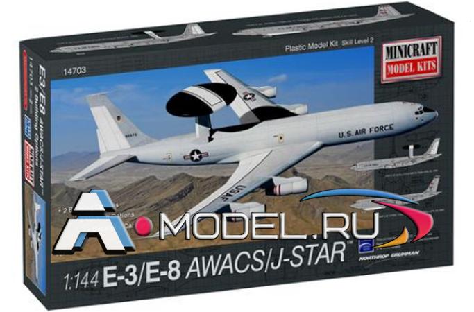 Купить по  низкой цене E-3/E-8 AWACS/J-STAR marking options 2 сборная модель самолёта 1/144 MiniCraft 14703