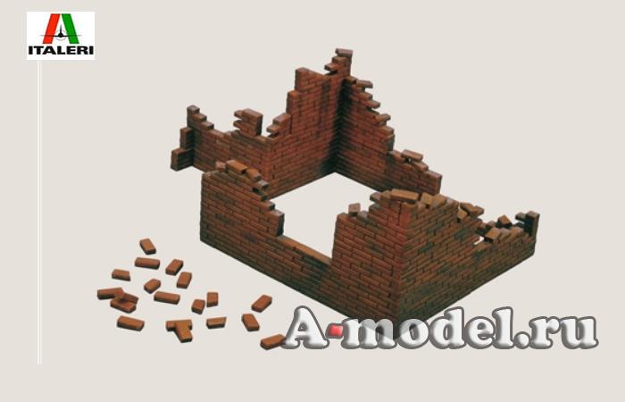Купить BRICK WALLS кирпичная стена разрушенная набор из мелких блоков, предусмотренны разнообразные варианты сборки материалы для диорам 1/35 ITALERI 405 цена, доставка
