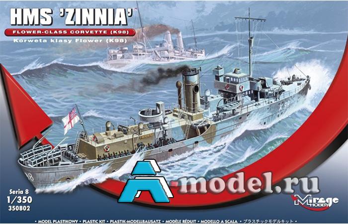 сборную модель Корвет HMS 'ZINNIA Flower сборная модель корабля 1/350 Mirage Hobby 350802 Mirage Hobby, цена