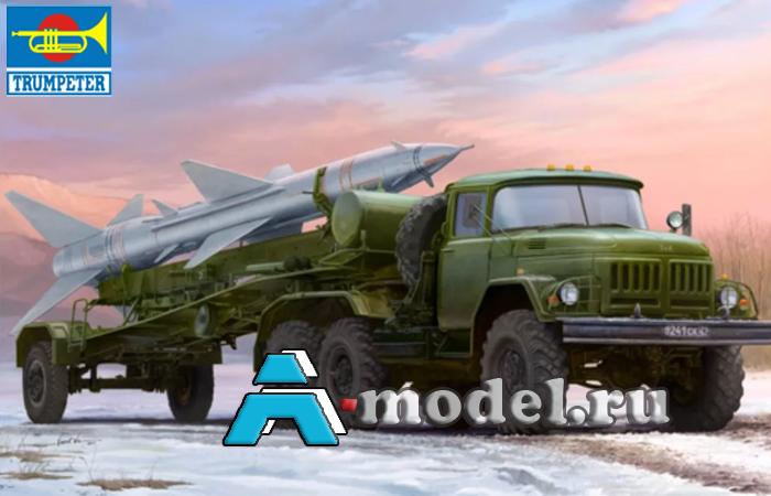 Купить  Зил-131В тягач с ракетой SA-2 (С-75) сборная модель 1/35 TRUMPETER 01033 цена, доставка