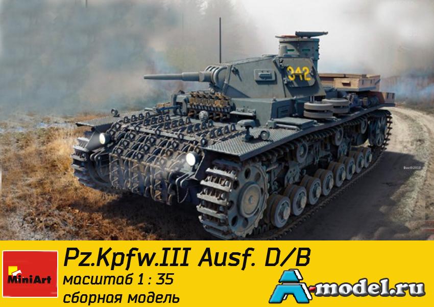 модели Mini Art Pz.Kpfw.III Ausf. D/B модель танка 1/35 MINI ART 35213 , цена