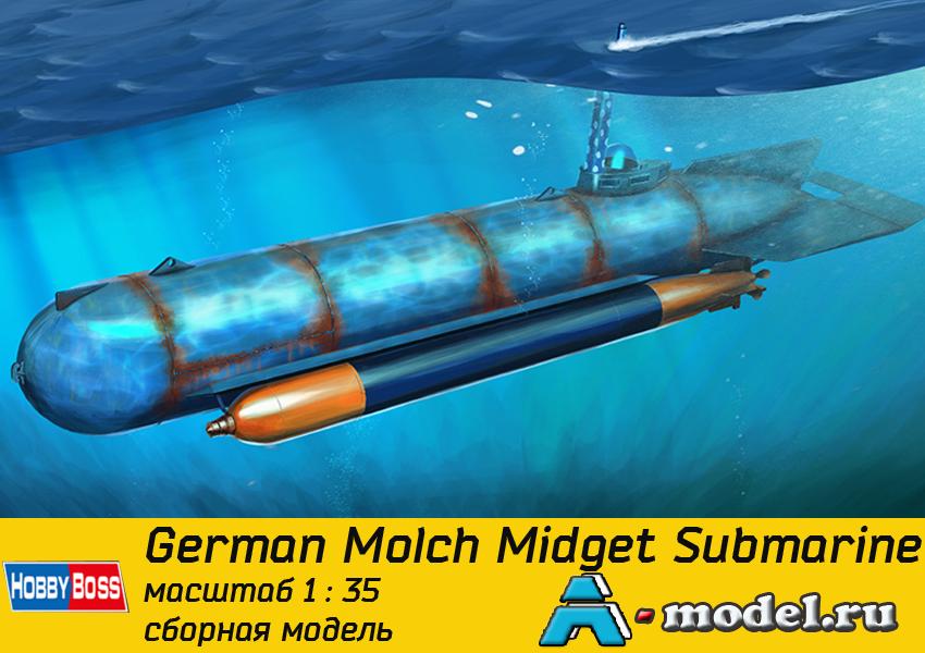 Купить German Molch Midget Submarine сборная модель 1/35 Hobby Boss 80170  цена